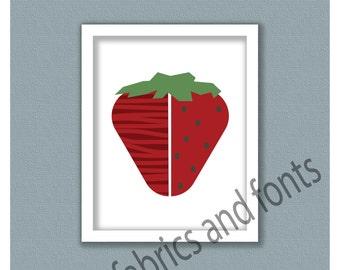 Strawberry fruit print; strawberry; fruit instant download; digital print; fruit art; fruit print; strawberry art; strawberry print