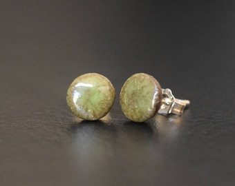 Green Ceramic Stud Earrings with Sterling Silver Posts + FREE Shipping