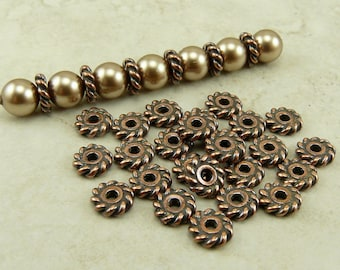 25 TierraCast 6mm Twist Heishi Spacer Beads - Copper Plated LEAD FREE Pewter - I ship Internationally