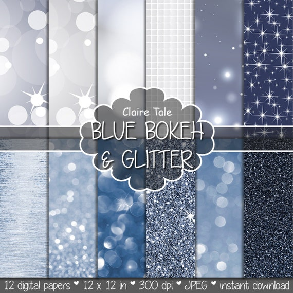 "Blue digital paper: ""BLUE BOKEH & GLITTER"" with blue glitter background and blue bokeh background for photographers and scrapbooking"