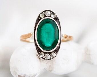 Verde Art Deco anello - argento e oro antico anello size 7 con ovale in vetro - gioielli antichi