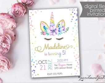 Unicorn Birthday Invitation - Unicorn Party - Rainbow Invitation -  Printable or Printed Invitations