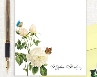 personalized notePAD - WHITE ROSE with BUTTERFLIES - floral stationery - butterfly stationary - letter writing paper