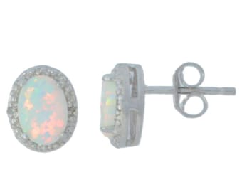 14Kt White Gold Opal & Diamond Oval Stud Earrings