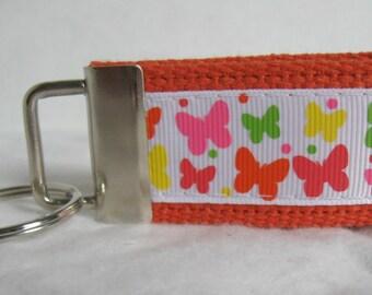 Butterfly Small Key Fob - Butterflies Mini Key Chain - Orange Zipper Pull