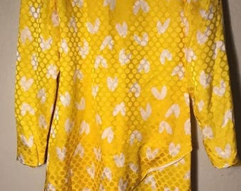 David Hayes 100% Silk Yellow Dress with White Accents size 8