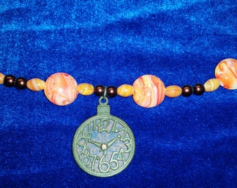Orange and Bronze Clock Necklace