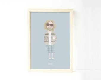 The Dude The Big Lebowski art print drawing illustration the dude abides movie film director poster
