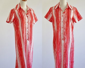 Vintage Shirt Dress, 70s Striped Dress, 1970s Dress, Retro Red Orange & White Stripes, Button Down Dress, Collared Dress, Bust 40 Large