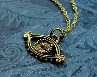 Evil Eye Necklace, Gold Evil Eye Charm on a Gold Cable Chain