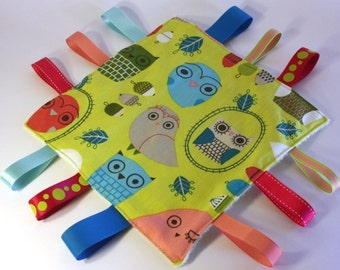 Baby Ribbon Taggy Blanky Square with soft minky fleece and 12 ribbons - Retro Owls in Bermuda lime green- READY TO SHIP