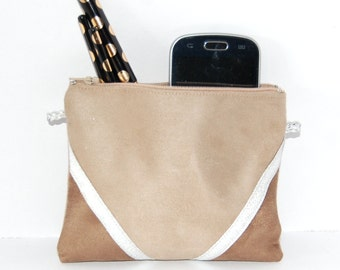 Pouch, mini bag make-up pouch suede light beige and dark, silvery - after the beach graphic lines