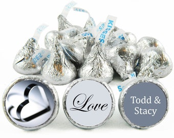 Set of 108 - Silver Heart Stickers for Hershey's Kisses. Wedding Labels for Kiss - Love Wedding Kiss Stickers - #IDWED709