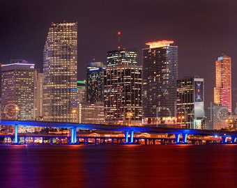 CANVAS Miami Skyline NIGHT Panoramic Photo Print  Cityscape