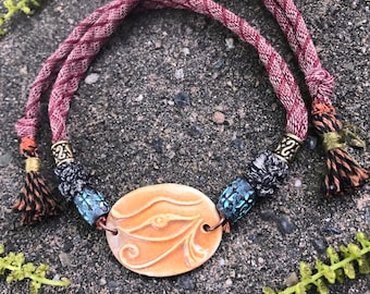 clay NECKLACE,clay pendant,ceramic necklace, yoga necklace,zen  choker necklace,hippy necklace, festival necklace, Eye of Ra necklace  Zasra