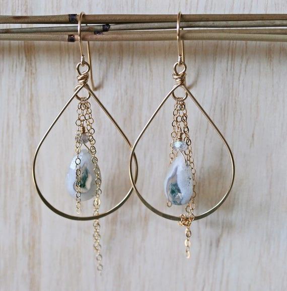 Solar Quartz Hoop Earrings with Chain