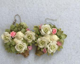 Ooak handmade shabby chic statement earrings sweet slipping