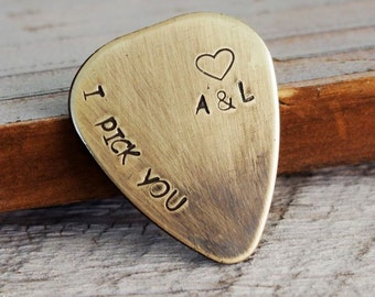 Custom engraved guitar pick, guitar pick, couples initials, I pick you, custom guitar pick, boyfriend, husband, personalized guitar pick
