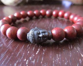Rosewood Buddha Bracelet, Wood Beaded Bracelet, Wrist Mala, Yoga Bracelet, Yoga Jewelry, Energy Bracelet, Meditation Bracelet, Mala Bracelet