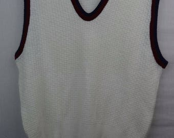 VINTAGE 80s Seasport Sportswear Knit Sweater Vest White Piping Womens Medium M