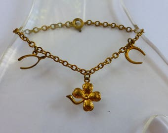 Good Luck Bracelet with Lucky Charms 4 Leaf Clover Wishbone Horse shoe XS