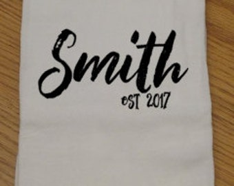 Personalized Wedding Tea Towel, Personalized Tea Towel, Personalized Kitchen Towel, Engagement Gift, Housewarming Gift