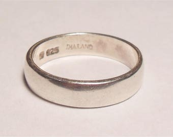 Vintage Sterling Silver Simple Ring Stacking Wedding Style Band Size 6.75