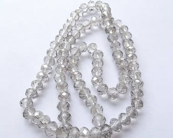 New! 98 grey faceted Crystal rondelle 4 x 6 mm RCF 808 smoked