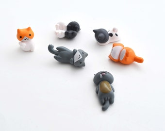 6 PC Orange White Gray Lazy Cat Kitty Kittens Hanging Miniature Garden Plants Terrarium Doll House Ornament Fairy Decoration az8017