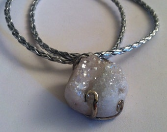 White Druzy, white Druzy stone set in silver metal on a silver braided cord, women's necklaces, gifts for her