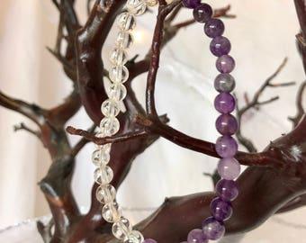 Amethyst/Clear Quartz Crystal Bracelet