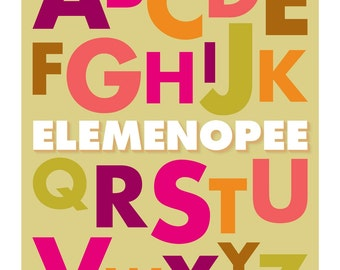 Elemenopee Alphabet Print, Original Giclee, ABCs, Multicolored