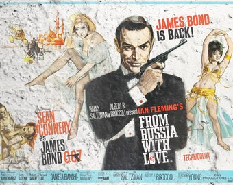 JAMES BOND 007 Vintage look 'From Russia With Love' Wall Art Print Aged effect (Landscape)