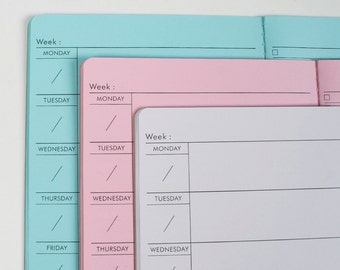 WEEKLY Traveler's notebook Insert Midori, Fauxdori style refill - 5 sizes and 19 solid colors[N031]