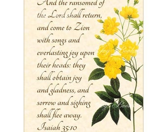 RANSOMED - Isaiah 35:10 Christian Home Decor Vintage Verses Calligraphy Wall Art Parchment 5x7 Inspirational Wall Art Yellow Rose Of Bancks