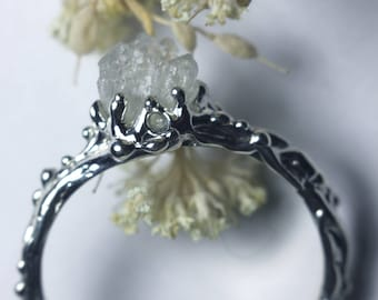 Silver ring, silver crystal ring, snow ring, white ring