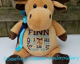 Birth Announcement Stuffed Animal,baby gift,personalized baby gift,Moose stuffed animal,Moose,embroidered stuffed animal,birth announcment