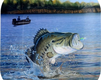 """Gone Fishing Bass 9"""" Square Dinner Plates, Set of 8 Plates, Fish Tableware, Retirement Party"""