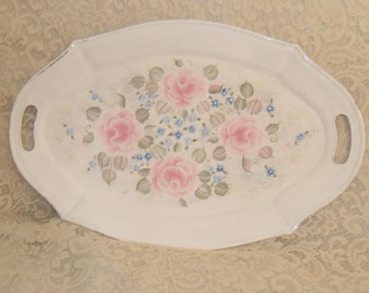 Shabby Cottage Chic Hand Painted Pale Rose and Blue Floral Distressed Metal Serving Tray