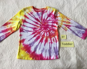 Toddler 3T Multi-Color Spiral Long Sleeve Tie Dye T-Shirt