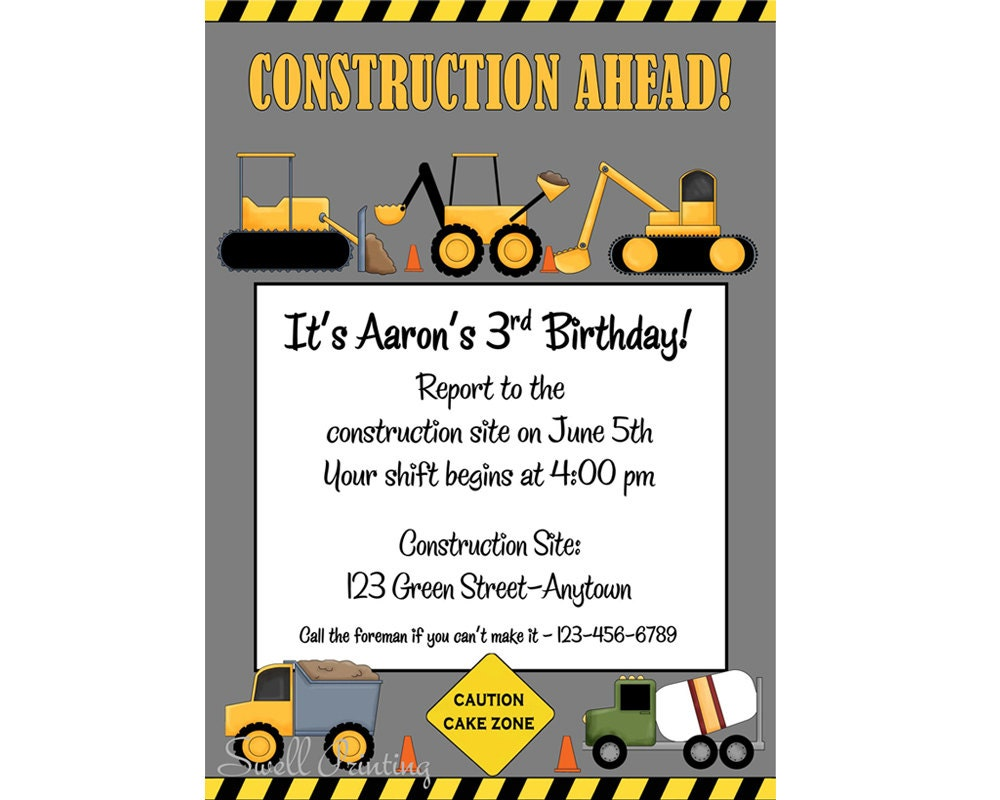 Printable Construction Birthday Invitation Heavy Equipment