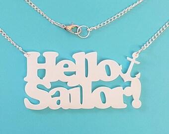 Hello Sailor Anchor Necklace - Acrylic