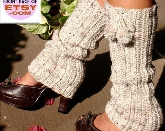 Crochet Leg Warmers with Pom Poms - Oatmeal