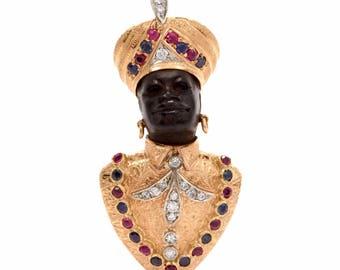 Vintage Blackamoor Black Coral Diamond Gem Lapel Brooch Gold  pin
