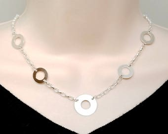 5 Circles 17 Inch Sterling silver Necklace