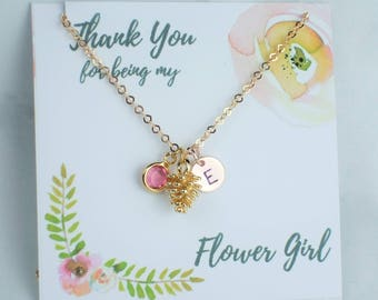 Flower Girl Pinecone Necklace, Personalised Rose Gold Necklace, Initial Disc,Child's Personalised Necklace,Flower Girl Personalised Necklace
