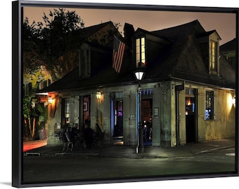LAFITTE'S BLACKSMITH SHOP Bar French Quarter New Orleans fine art photography on canvas in floating frame.