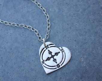 Follow Your Heart Necklace - handmade fine silver heart charm with compass- textured oxidized sterling silver chain- free shipping USA