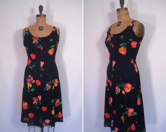 1970s black floral print day dress • 70s flower print dress • vintage sleeveless summer dress