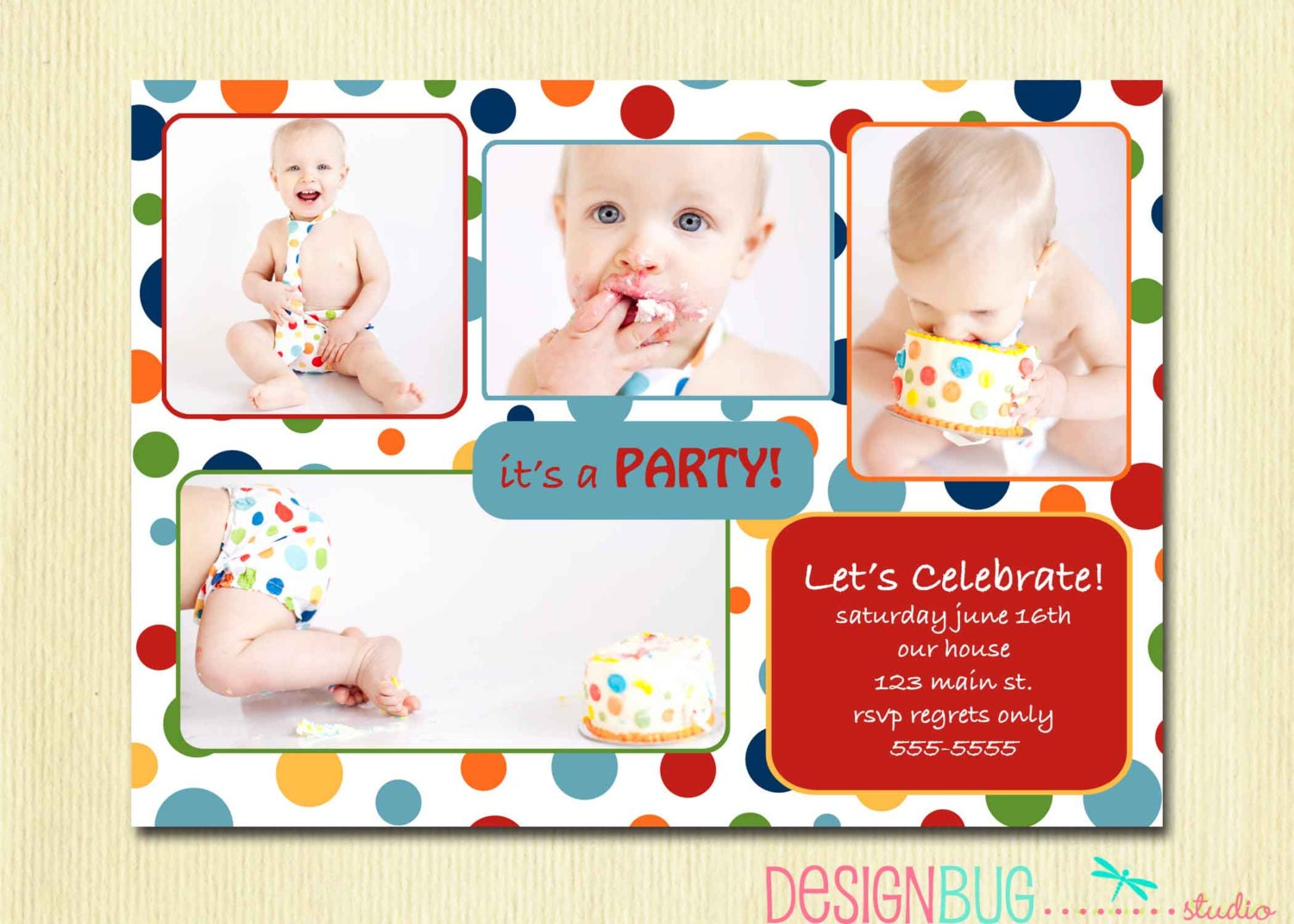 Enchanting one year old birthday invitations adornment resume first birthday party invitation rainbow polka dot 1st filmwisefo